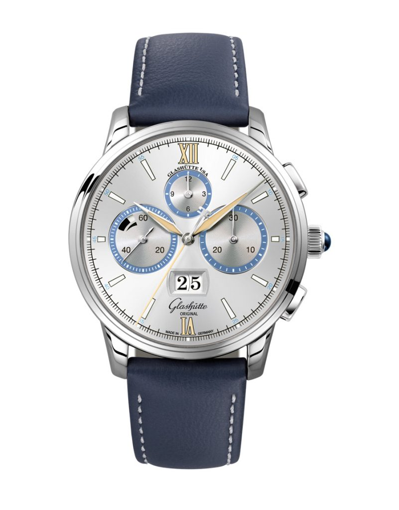 "Glashütte Original Senator Chronograph Capital Edition watch in platinum with ""Dry Silver"" dial."