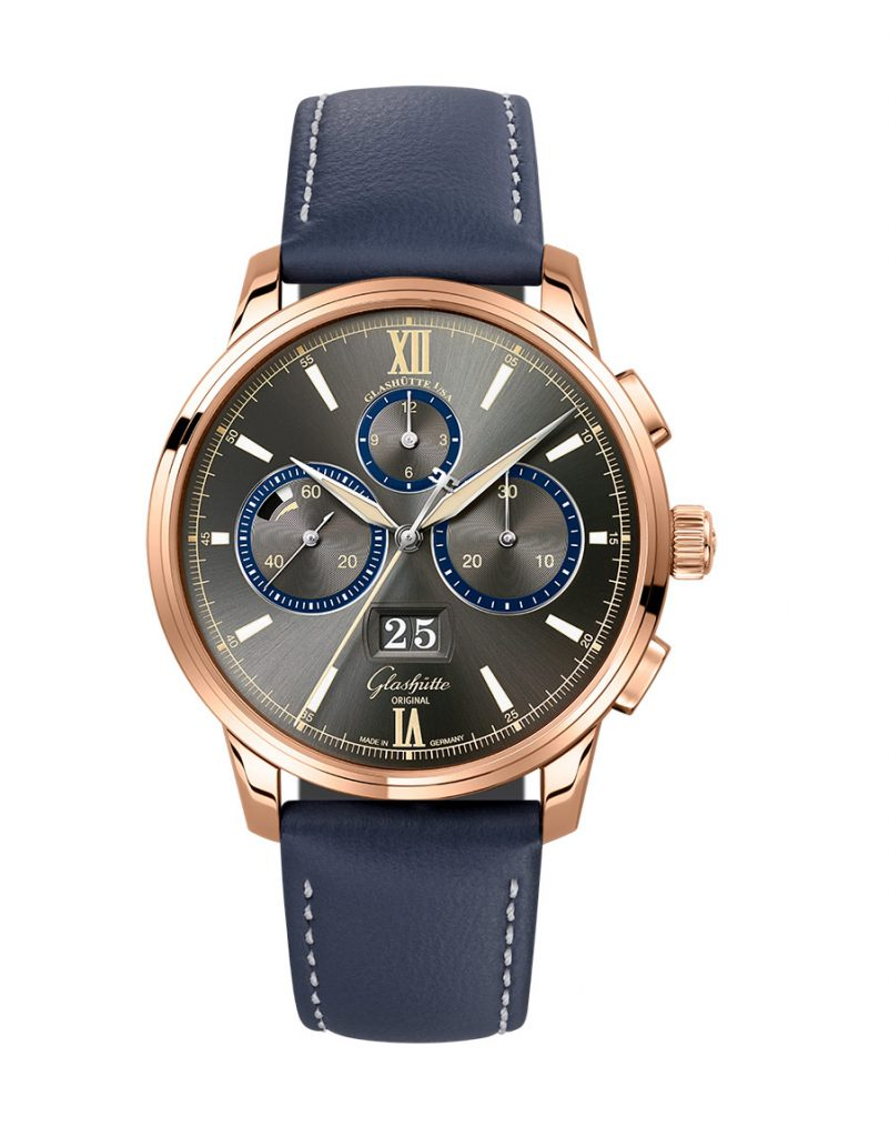 The Glashütte Original Senator Chronograph Capital Edition watch in 18-karat rose gold.