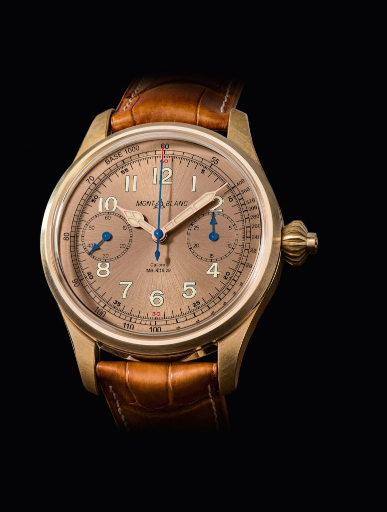 The new Montblanc 1858 Chronograph Tachymeter Limited Edition 100 timepiece is crafted in bronze with a salmon-colored dial.