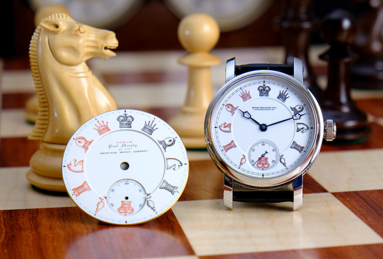 "The new RGM ""Chess in Enamel"" watch features a double enamel dial inspired by a dial in the NAWCC Museum."