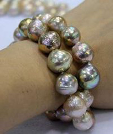 Freshwater pearls out of China are large  and   lustrous .