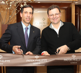 Larry Pettinelli and Thierry Stern at the ribbon-cutting event for the new space.