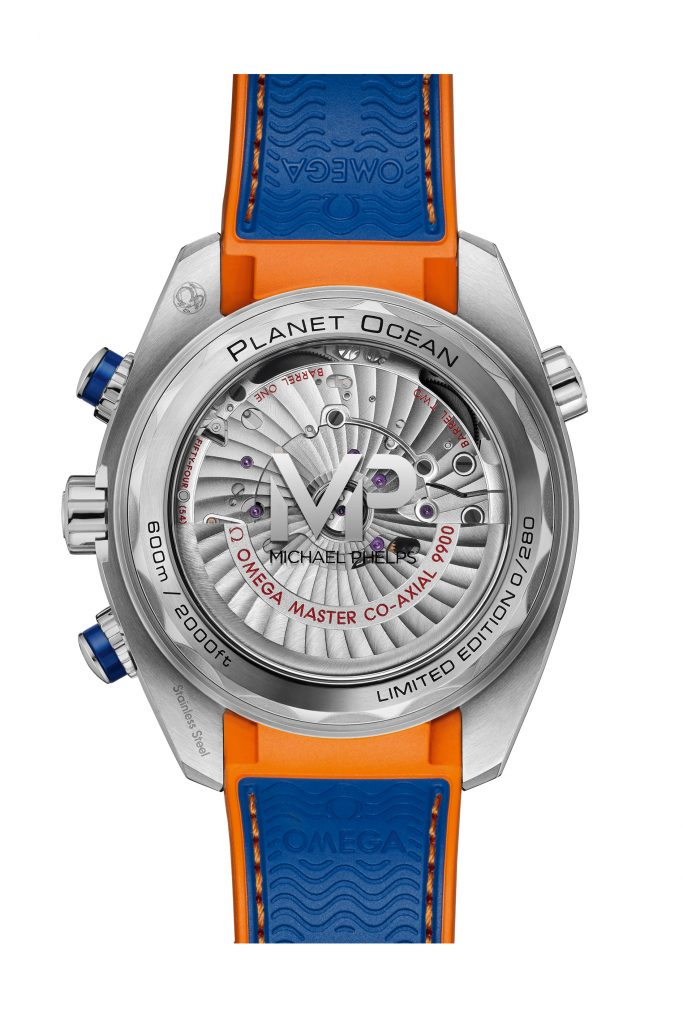 The Omega Seamaster Planet Ocean Michael Phelps watch is powered by the Caliber 9900.