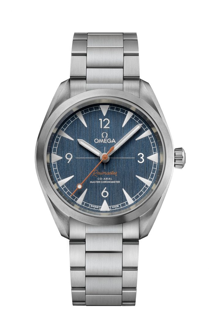 The the denim-inspired Seamaster Omega Co-Axial Master Chronometer Railmaster watch is sold with either a denim NATO strap or a steel bracelet.
