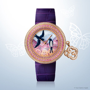 Lady Arpels Charms watch in enamel and gemstone