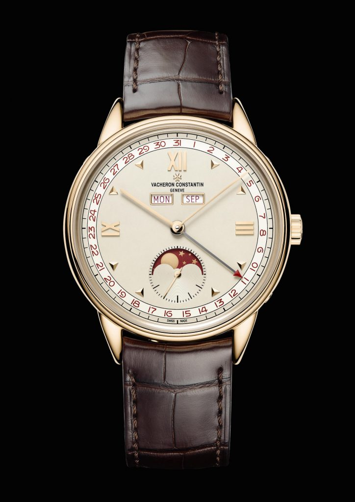 Vacheron Constantin Historiques Triple Calendar 1948 watch with moon phase indication.