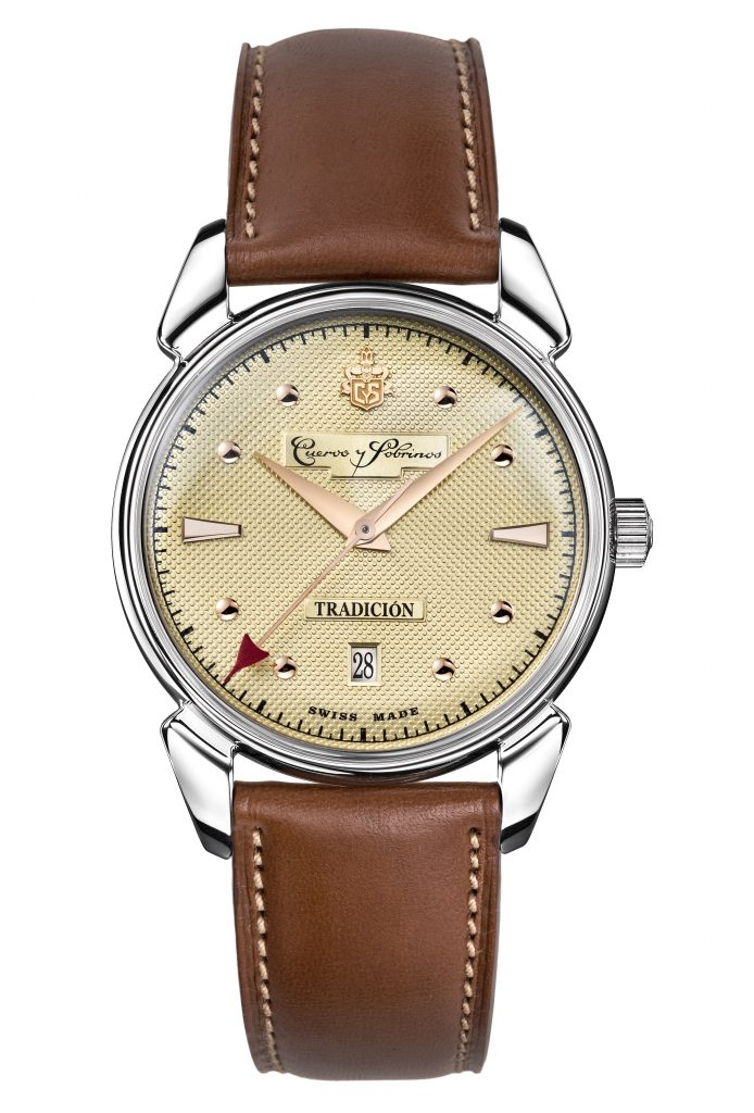 The Cuervo y Sobrinos Historiador Tradition watch is a 40mm stainless steel piece.
