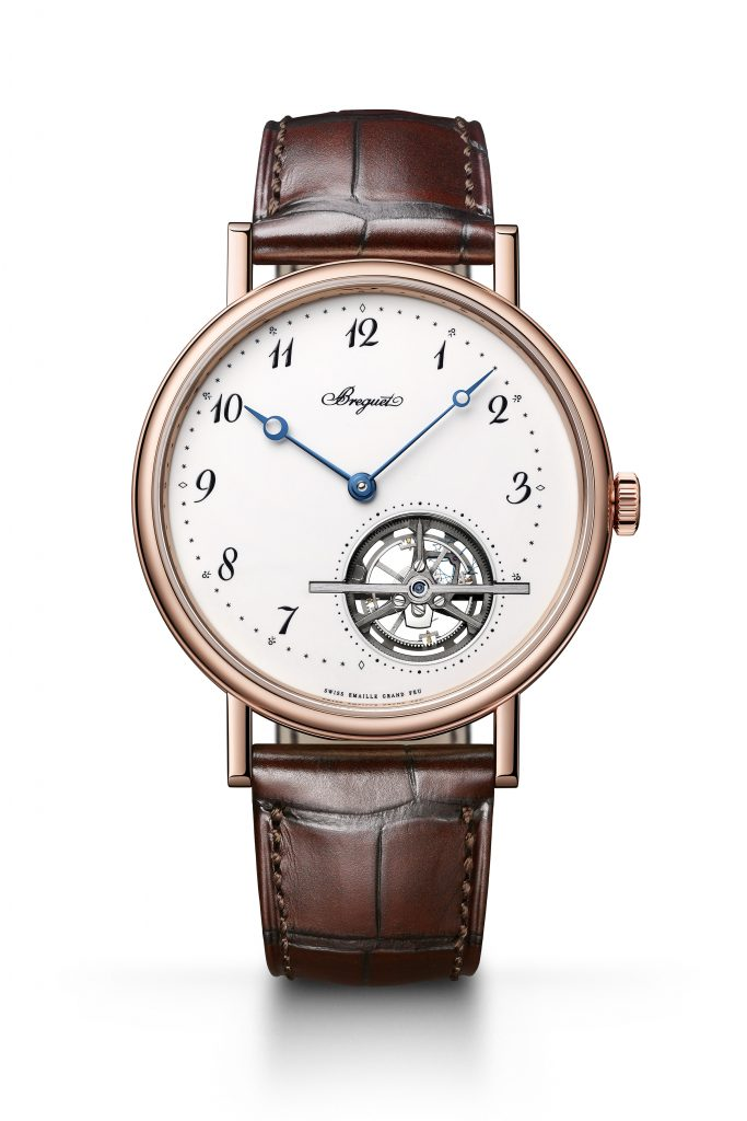 Breguet Classique Tourbillon Extra-Plat Automatique 5367 Grand Feu in 18-karat rose gold is also offered in platinum.