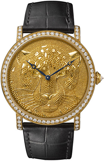 artier d'Art Rotonde de Cartier Panther with granulation dial