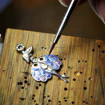 The making of the enamel and marquetry ballerina.