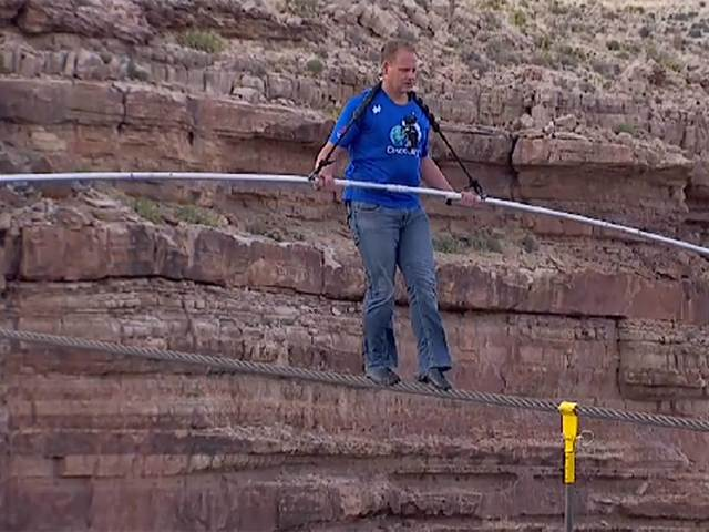 Nik Wallena -- first man to walk the Canyon on a tight rope!
