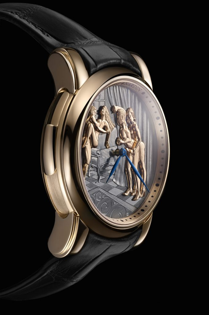 SIHH 2018: The figures on the Ulysse Nardin Classic Voyeur erotic watch are carved in gold.