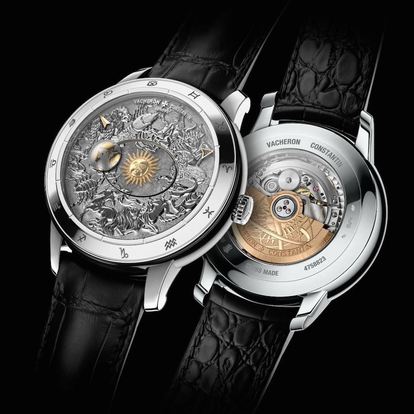 The hand-engraved dial of the Vacheron Constantin Metiers d'Arts Celestial Spheres 2460RT watches is done in baroque style. Here, you can also see the 352-part caliber 2460RT.