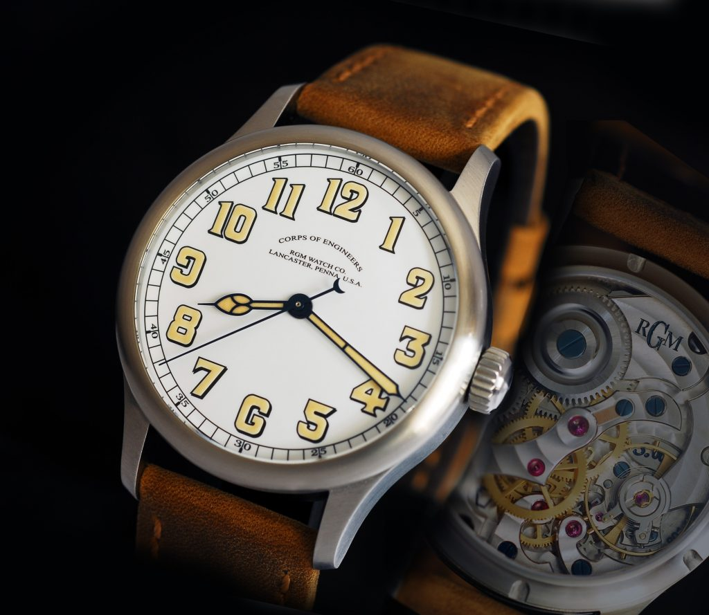 RGM 801SW-COE watch with sweep seconds and re-configured mainplate. Made in America.