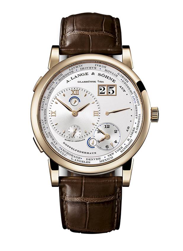 A. Lange & Sohne Lange 1 Time Zone in Honey Gold.