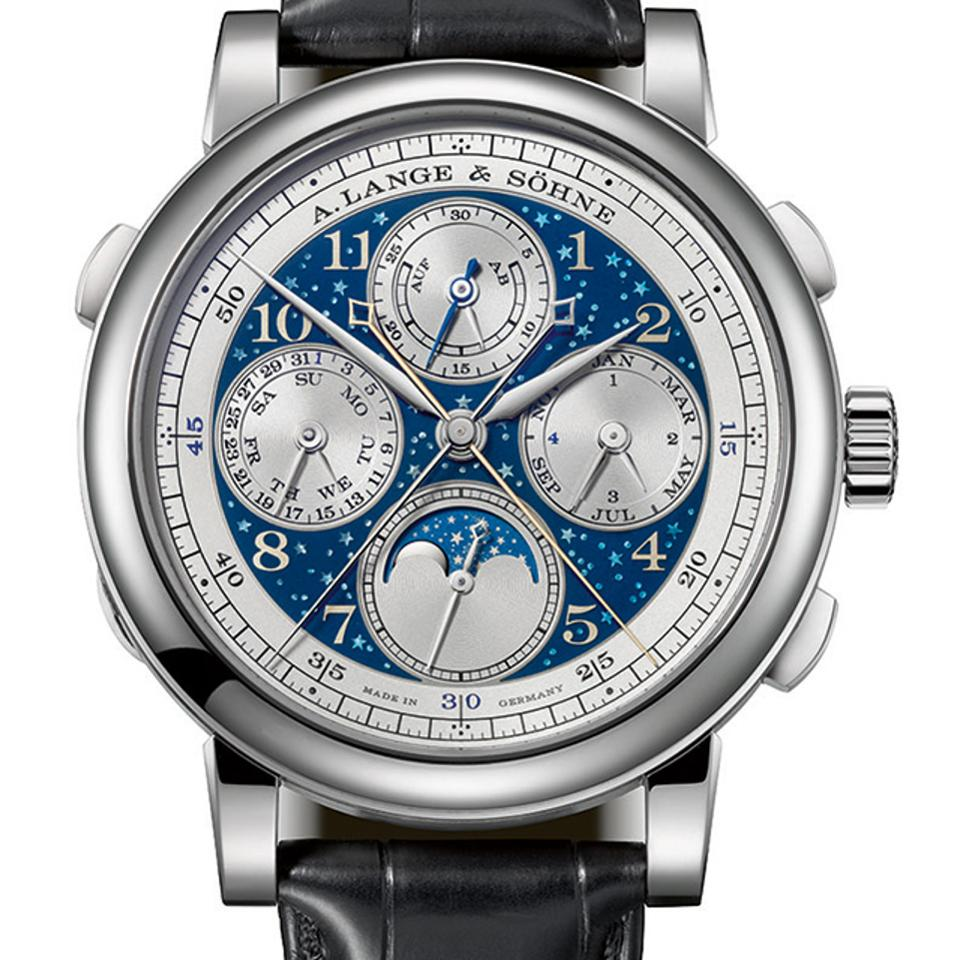 A. Lange & Sohne 1815 Handwerkskunst Rattrapante  Perpetual Calendar moon watch was exhibited for the first time in the USA at WatchTime New York, 2017.