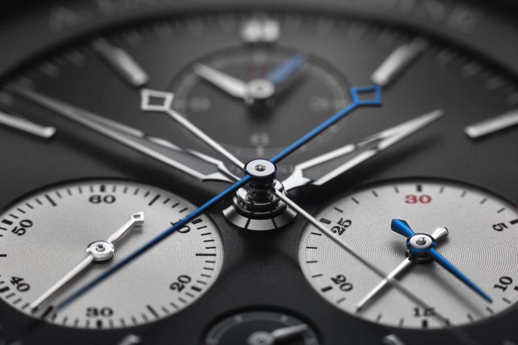 Close-up details of the dial of the A. Lange & Sohne Triple Split Chronograph.