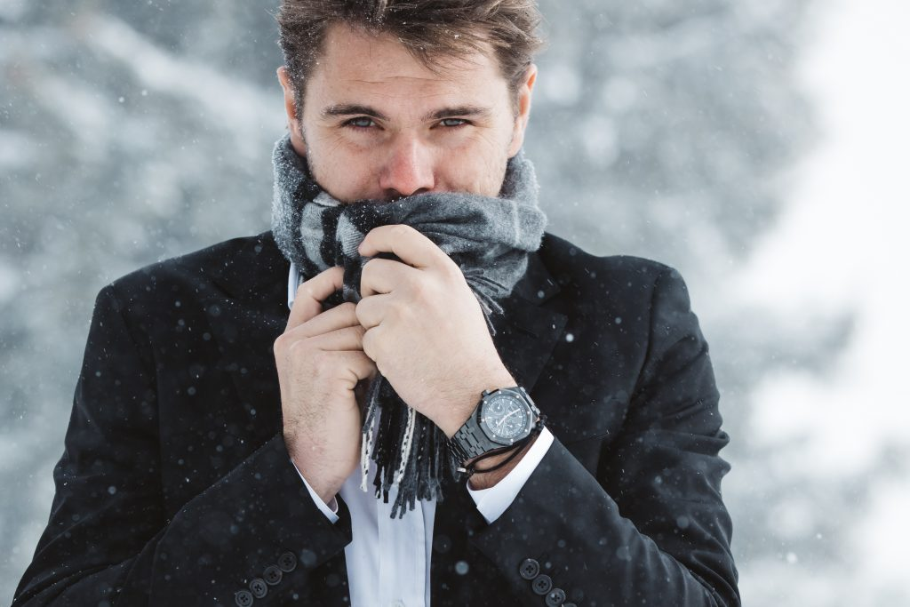 Stan Wawrinka bundling up while wearing his Audemars Piguet watch.