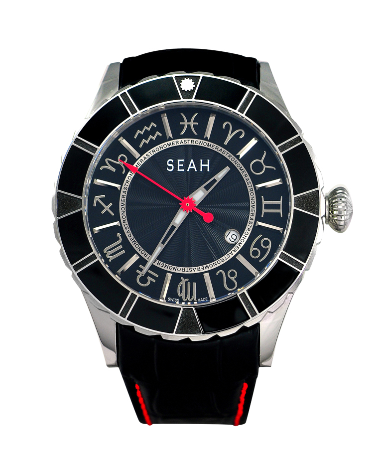 The SEAH Astronomer watch is the only watch to offer Greek zodiac signs instead of numerals. The rotating bezel features a star that can be turned to indicate the wearer's sign.