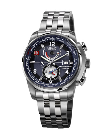 Created with Eli Manning, the new The Citizen Eco-Drive Limited Edition Eli Manning World Time A.T watch features blue dial and red number 10.