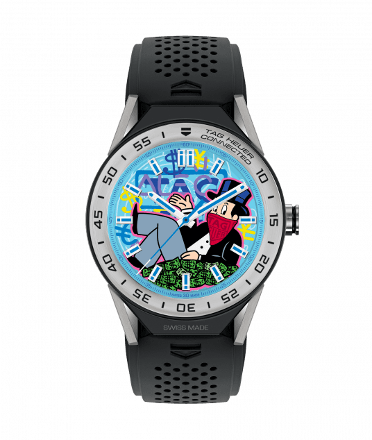 TAG Heuer Connected Modular 45 watch with dial created by graffiti artist Alec Monopoly, was unveiled at Art Basel Miami.