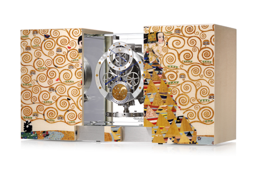 Special Edition Atmos Marqueterie clock, inspired by Gustav Klimt's work.