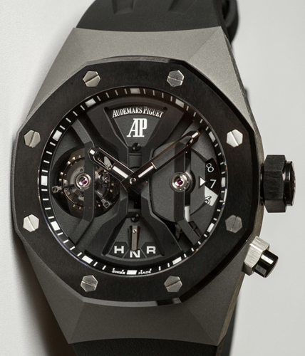 The Audemars Piguet Royal Oak Concept GMT Tourbillon in black ceramic and titanium.