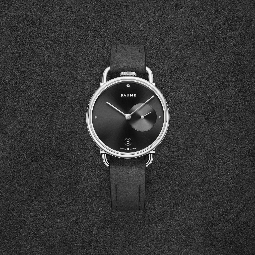 Baume Custom Timepiece Series watch with Alcantara strap.
