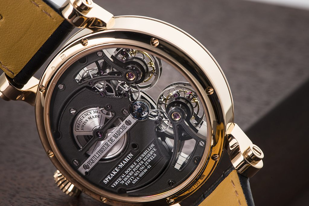 Speake-Marin Vertical Double Tourbillon Openworked as seen from the caseback.