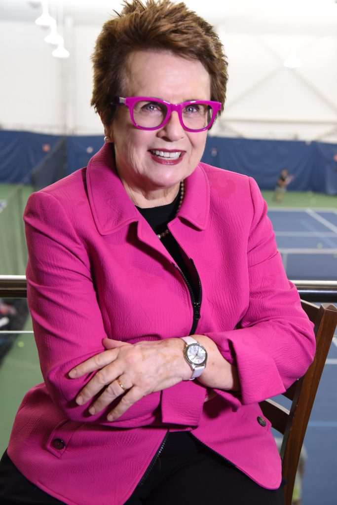 Billie Jean King at the US Open wearing her commemorative Citizen Billie Jean King watch.
