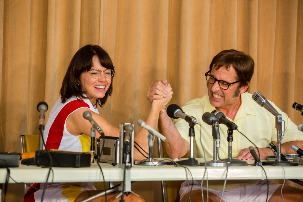Emma Stone and Steve Carell play Bilie Jean King and Bobby Riggs in the upcoming movie, Battle of the Sexes.