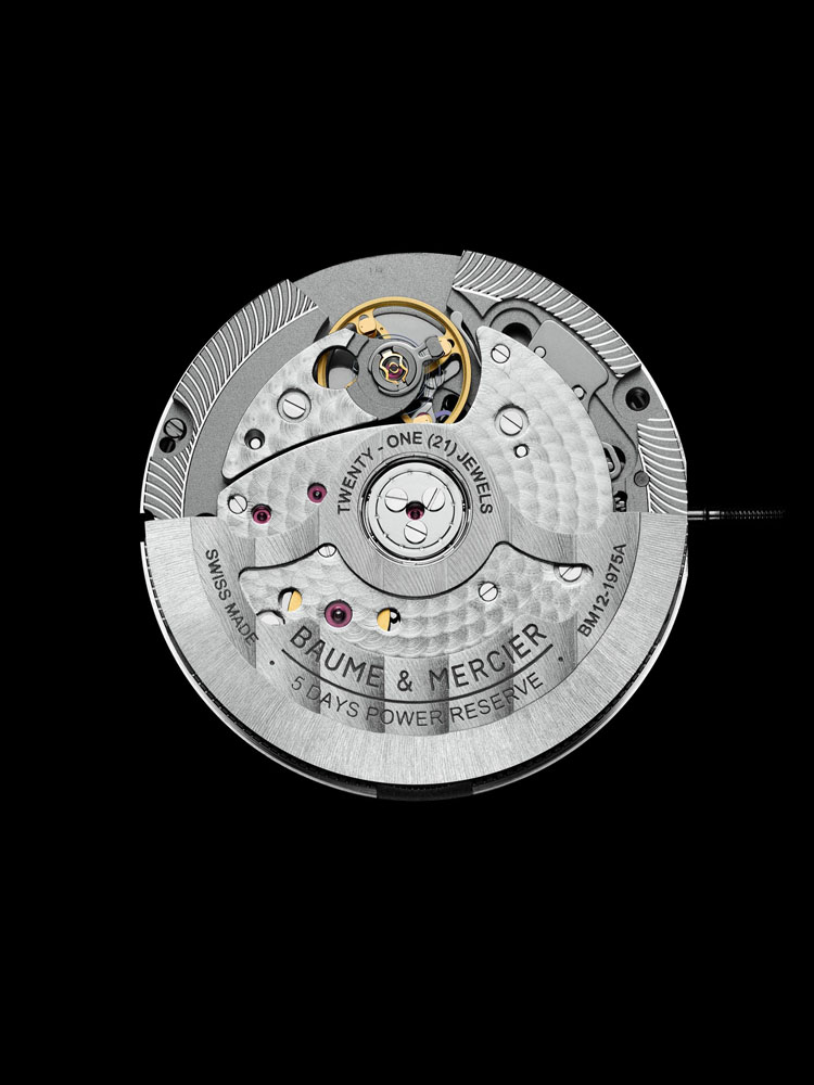 Baume & Mercier Clifton Baumatic(TM) COSC-certified chronometer with silicon escapement and balance wheel is a COSC-certified chronometer