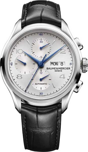 One of the new Clifton chronographs features blue hands.