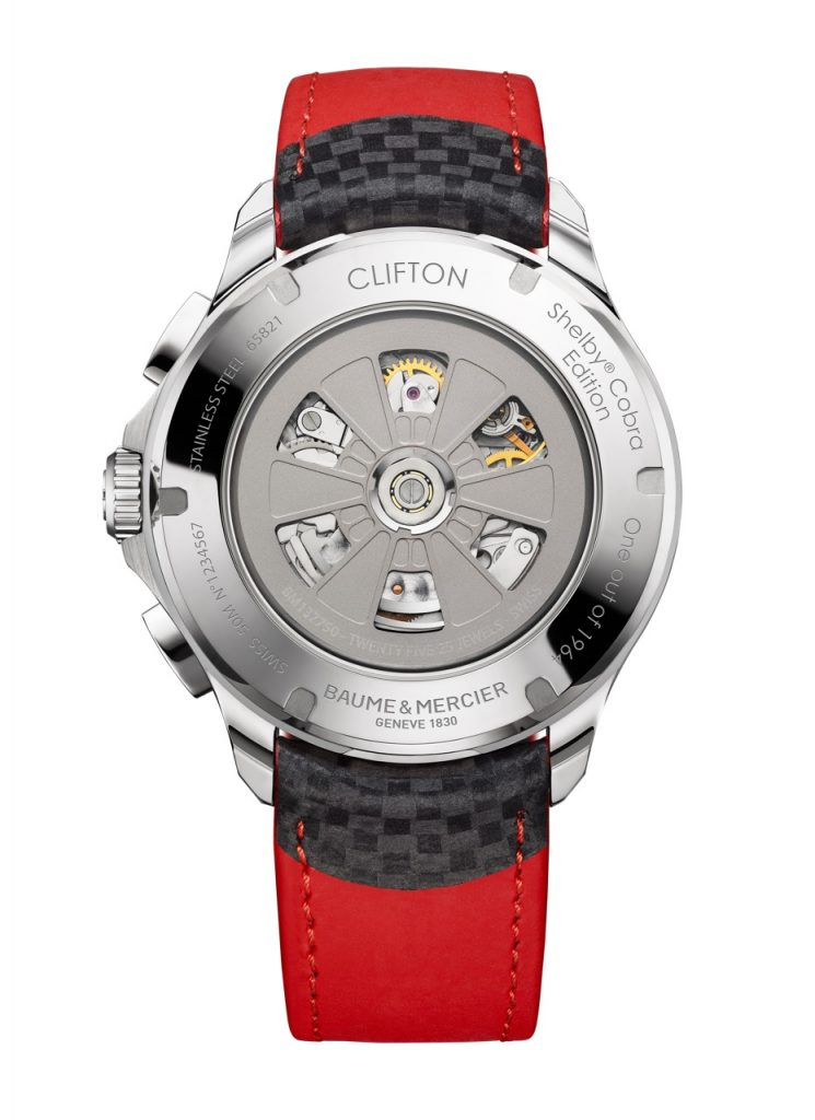 The caseback of each of the Baume & Mercier Clifton Club Shelby Cobra editions watches has the number engraved on the case back and features the oscillating weight made in the likeness of the Daytona Coupe's alloy wheels.