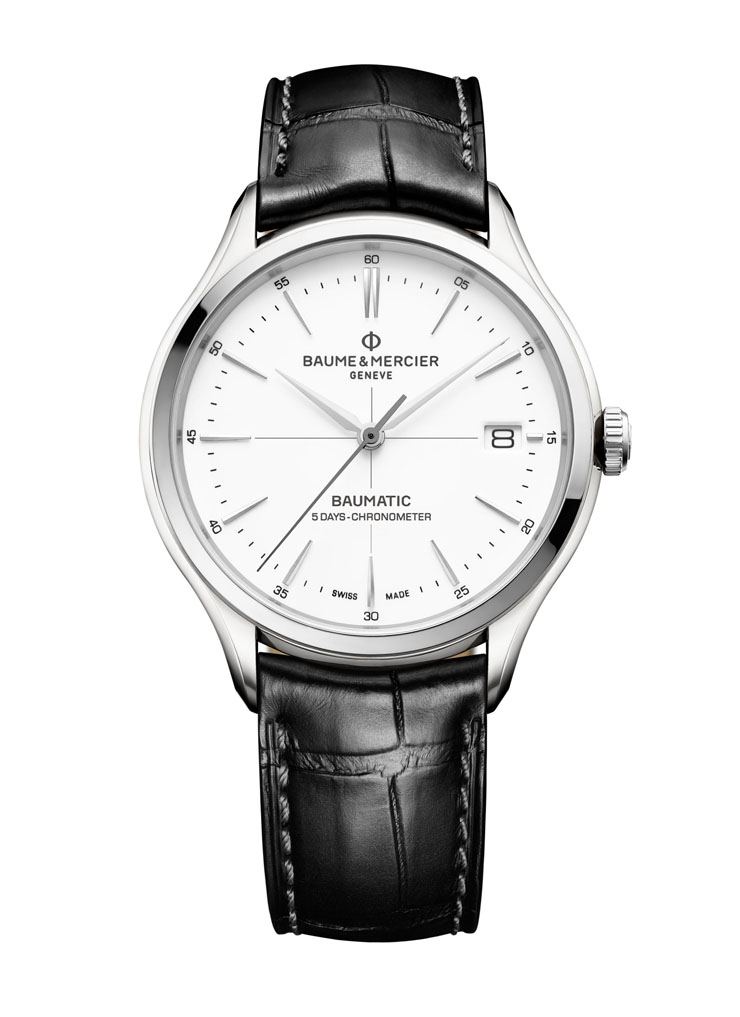 Baume & Mercier Clifton Baumatic(TM) is crafted in stainless steel with lacquered dial.