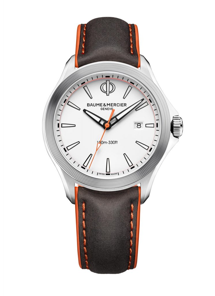 Baume & Mercier Clifton Club quartz watch with white dial and nubuck calfskin strap for the US market