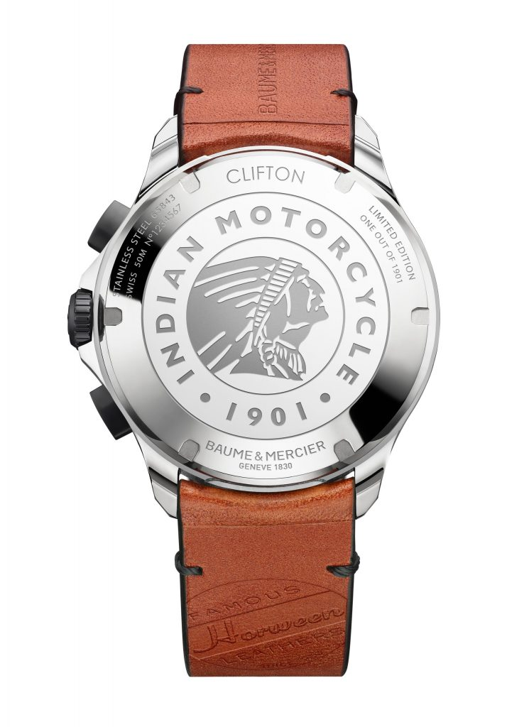The back of the Baume & Mercier Clifton Club Indian Legend Tribute watches feature the Indian head logo inscribed on it and the numbered edition.