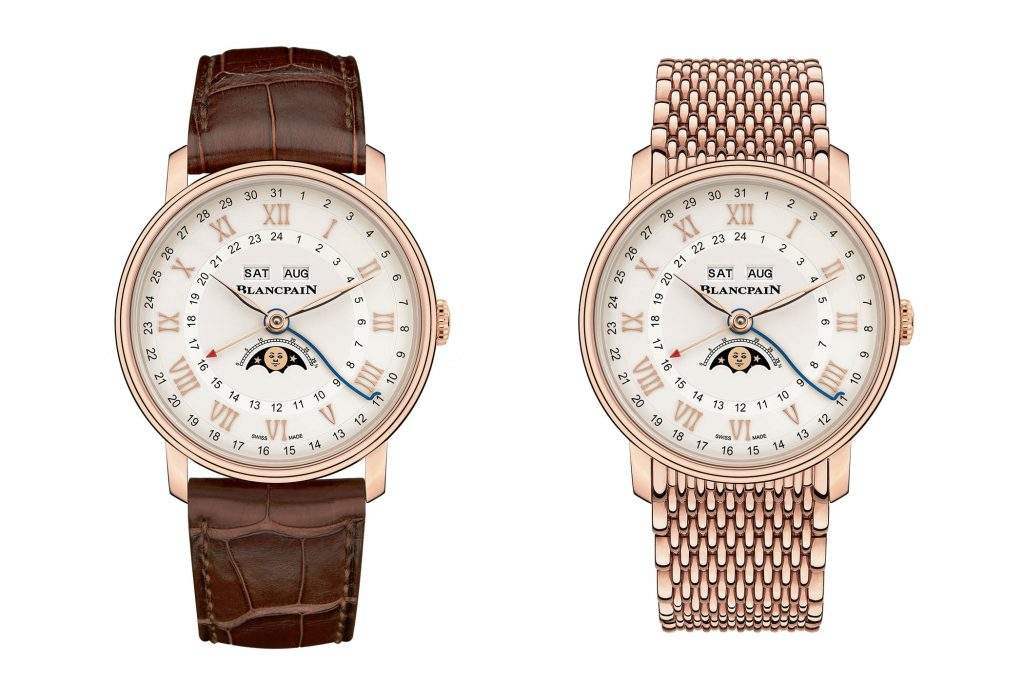 Blancpain Villeret Quantieme Complet GMT in white or rose gold.