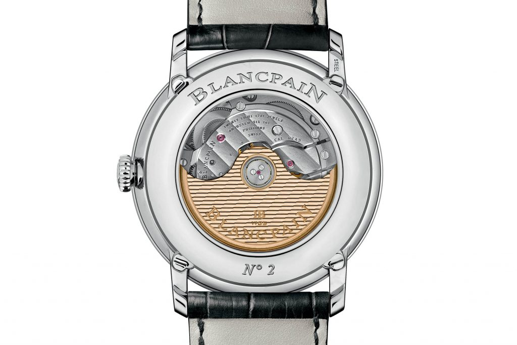 The movement has been updated in the Blancpain Complete Calendar GMT watch.