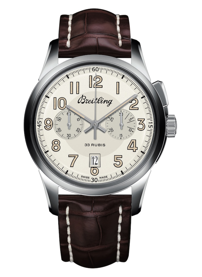 Replica Breitling Transocean Chronograph 1915 - Steel Case, White Dial, Brown Strap on White