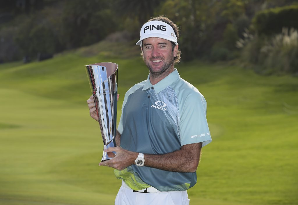 PACIFIC PALISADES, CA - FEBRUARY 18: Bubba Watson poses with the trophy after winning the Genesis Open at Riviera Country Club on February 18, 2018 in Pacific Palisades, California. (Photo by Stan Badz/PGA TOUR)