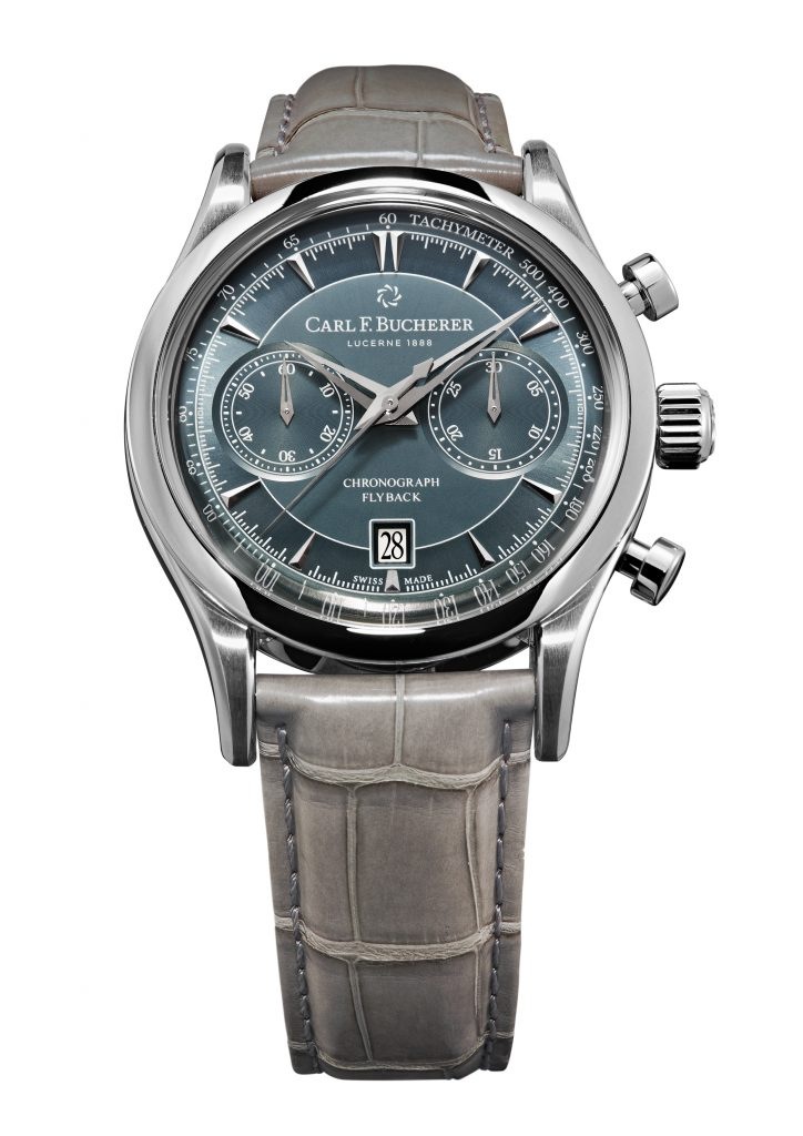 There are three versions available of the Carl F. Bucherer Manero Flyback, but we love this blue dial and gray strap model.