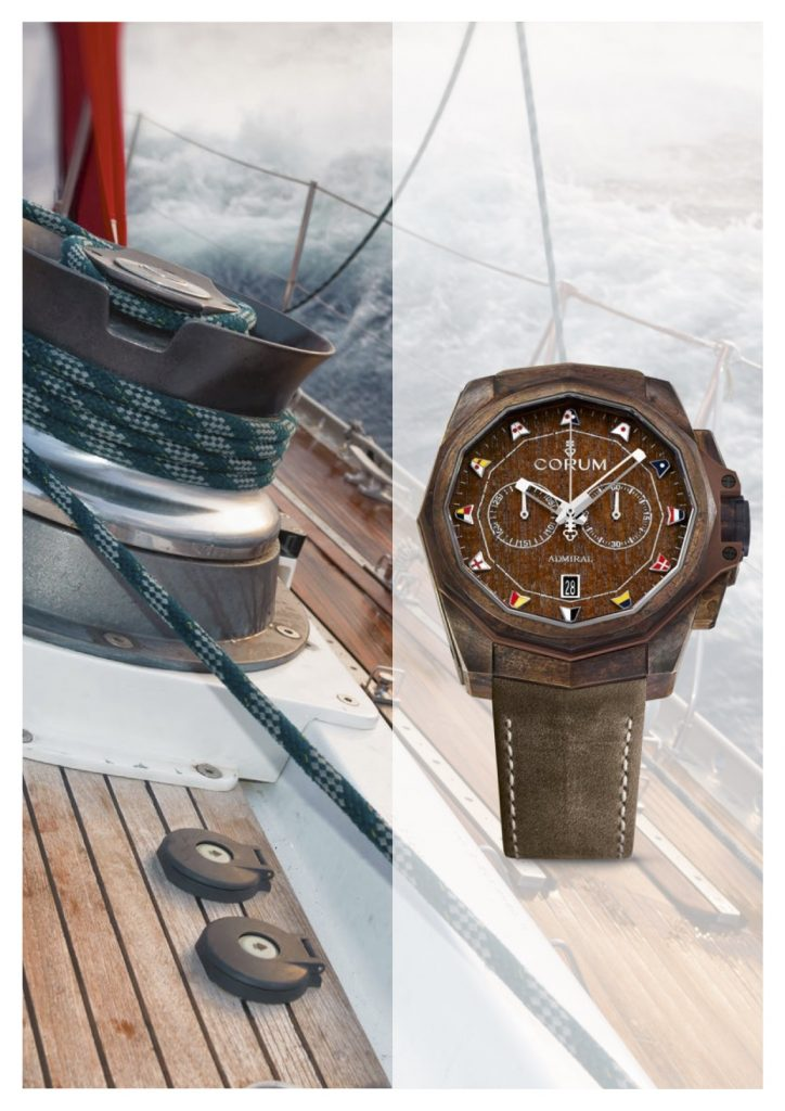 Designed for use on the water, this Corum Admiral AC-One Chronograph Bronze is water resistant to 300 meters.