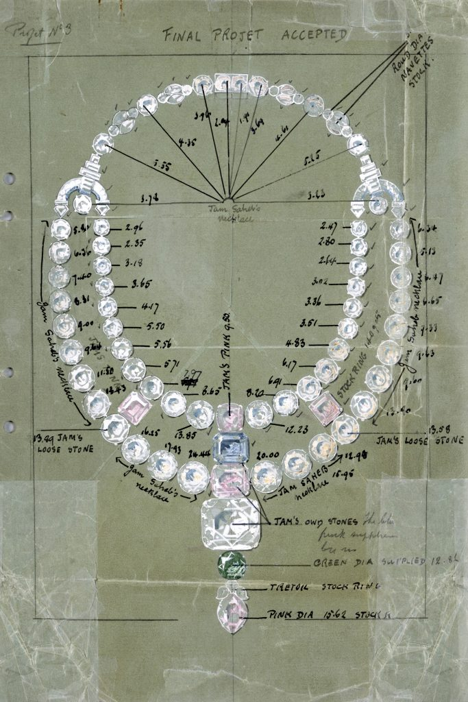 The original Cartier necklace made in 1931 no longer exists, but Cartier turned to its archives for the drawing. Cartier Archives Londres @ Cartier