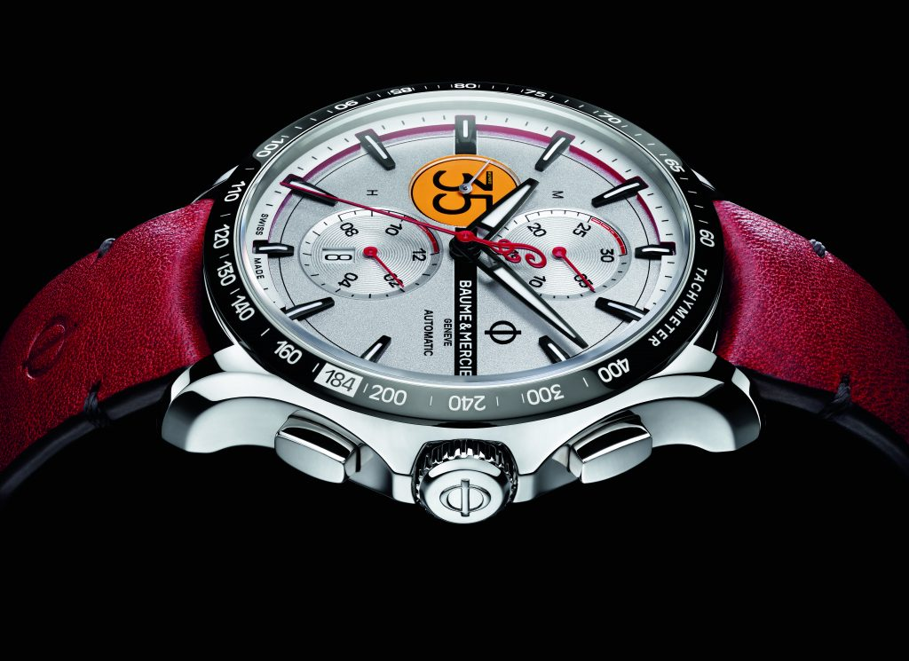 The Baume & Mercier Indian Burt Munro Limited Edition watch recalls the record-setting speed Munro hit at the Salt Flats in 1967.