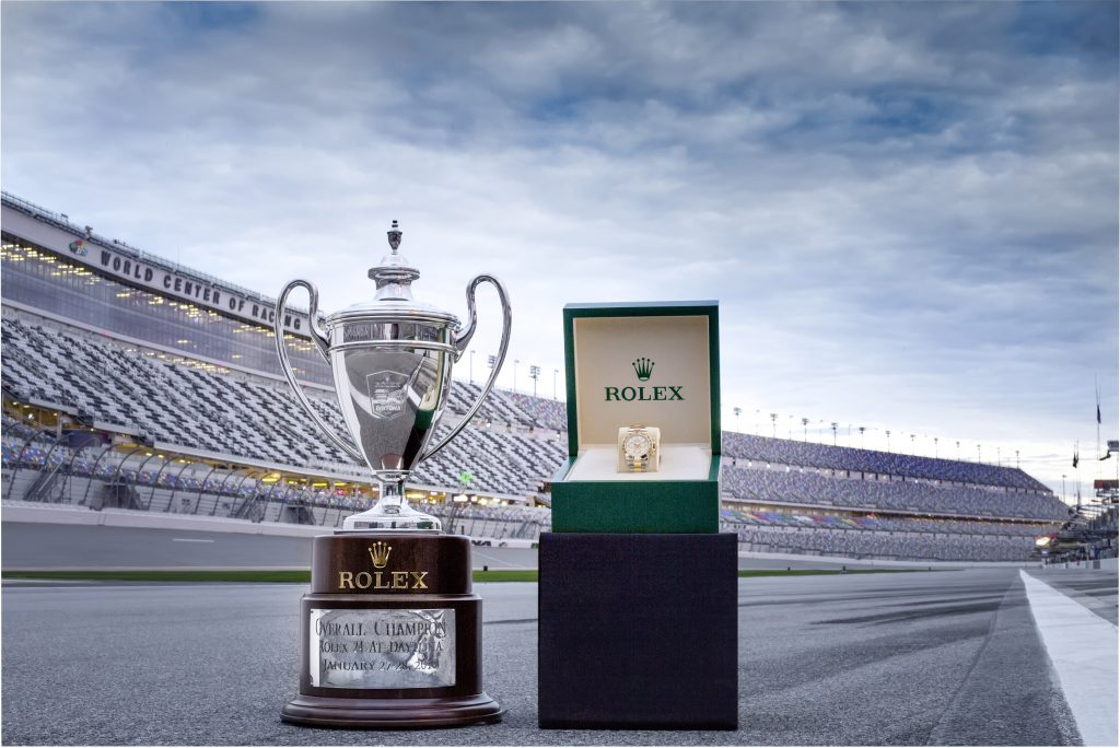 Rolex 24 At DAYTONA Trophy and the engraved Rolex Oyster Perpetual Cosmograph Daytona presented to the winners of the race