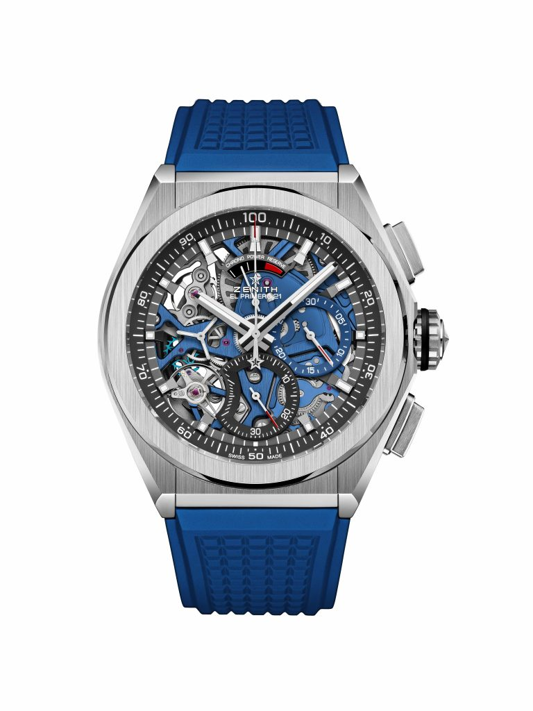 Zenith Defy El Primero 21 Blue with blue main plate and matching rubber strap.