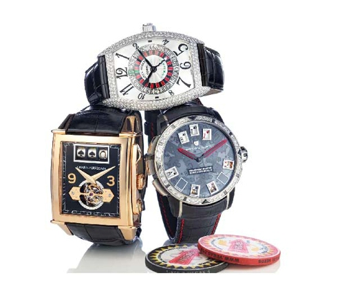 Top:Franck Muller Vegas watch ($75,400); Right:Christophe Claret 21 Blackjack ($215,000) ; Left:Girard-Perregaux Vintage Jackpot Tourbillon ($718,000). Photo by JEFF GALE