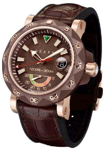 The ScubaGraff houses a mechanical movement and offers 20 minute countdown indicator for diving