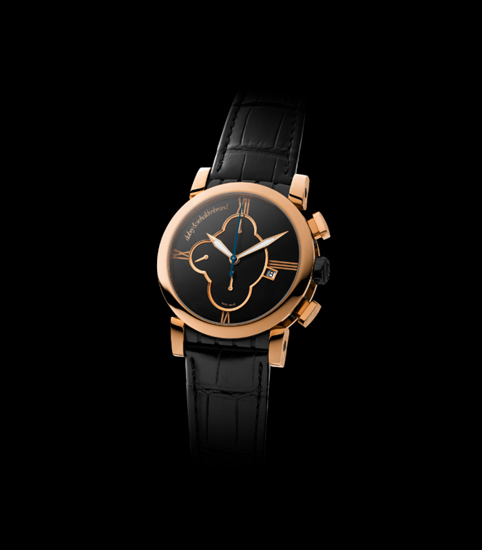 Rose gold case with  black PVD dial, Dubey & Schaldenbrand Grand Shar Gold Element chronograph